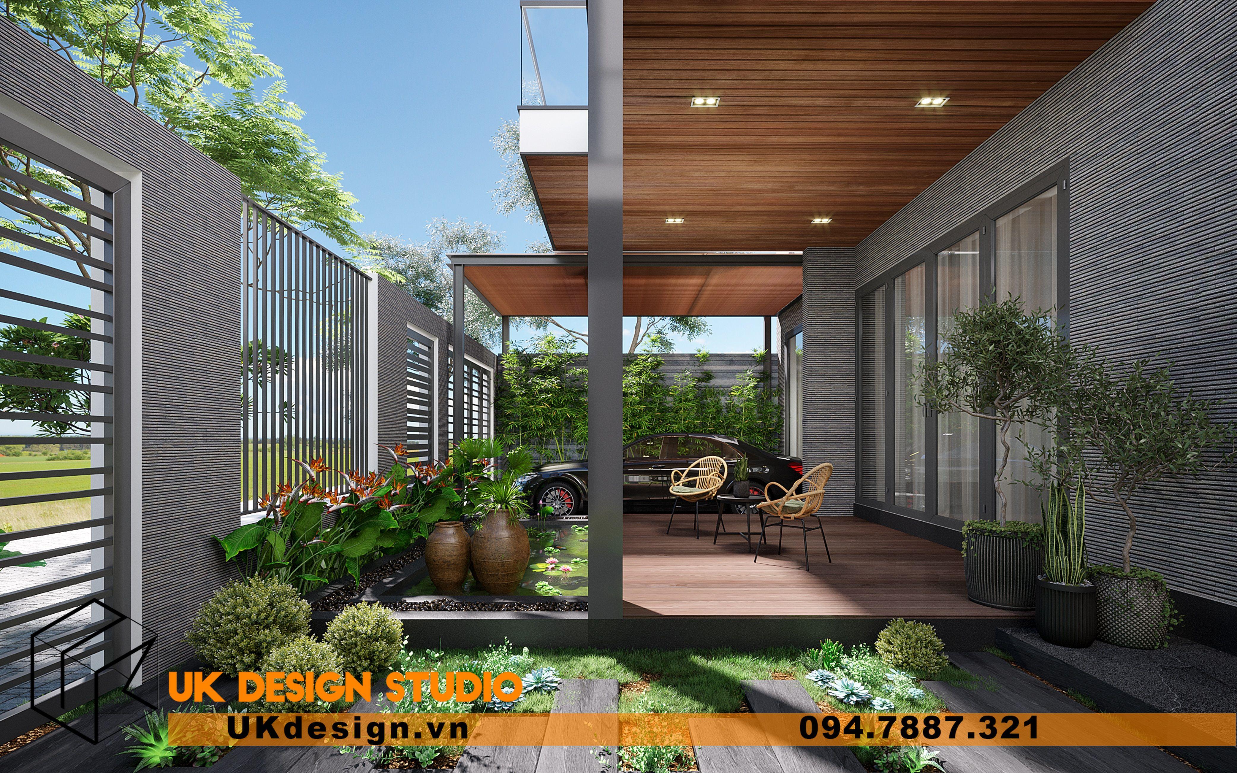 Thiết kế sân vườn biệt thự trước nhà