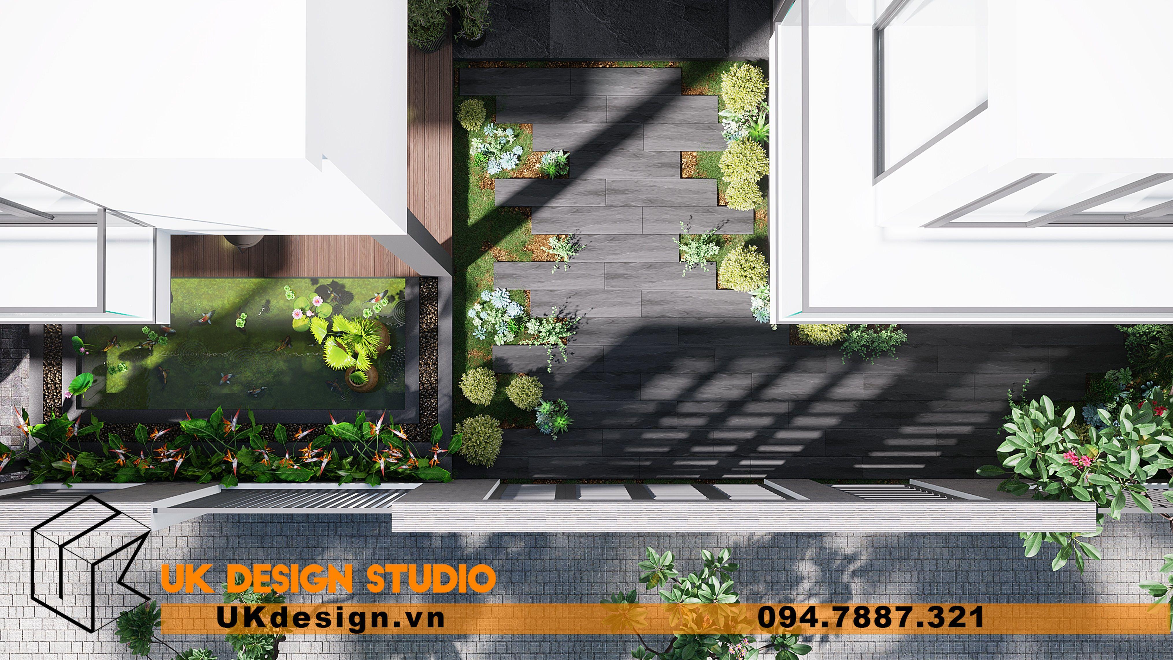 Thiết kế sân vườn biệt thự trước nhà 5