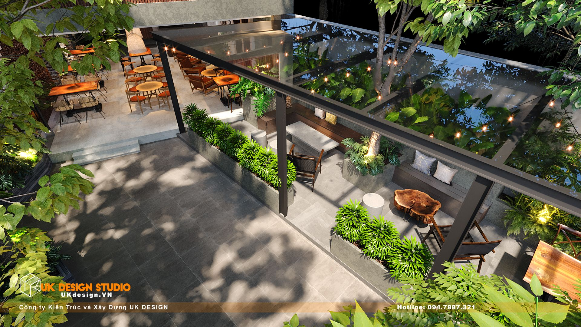Thiết kế quán Cafe sân vườn, MỘC coffee 10
