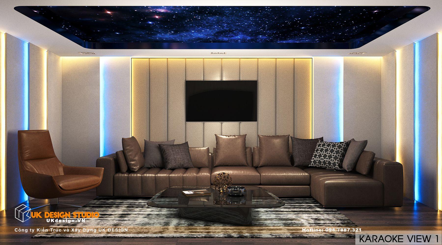 Thiết kế nội thất biệt thự nhà đẹp 3 tầng ở Quận 8 - Phòng karaoke 1