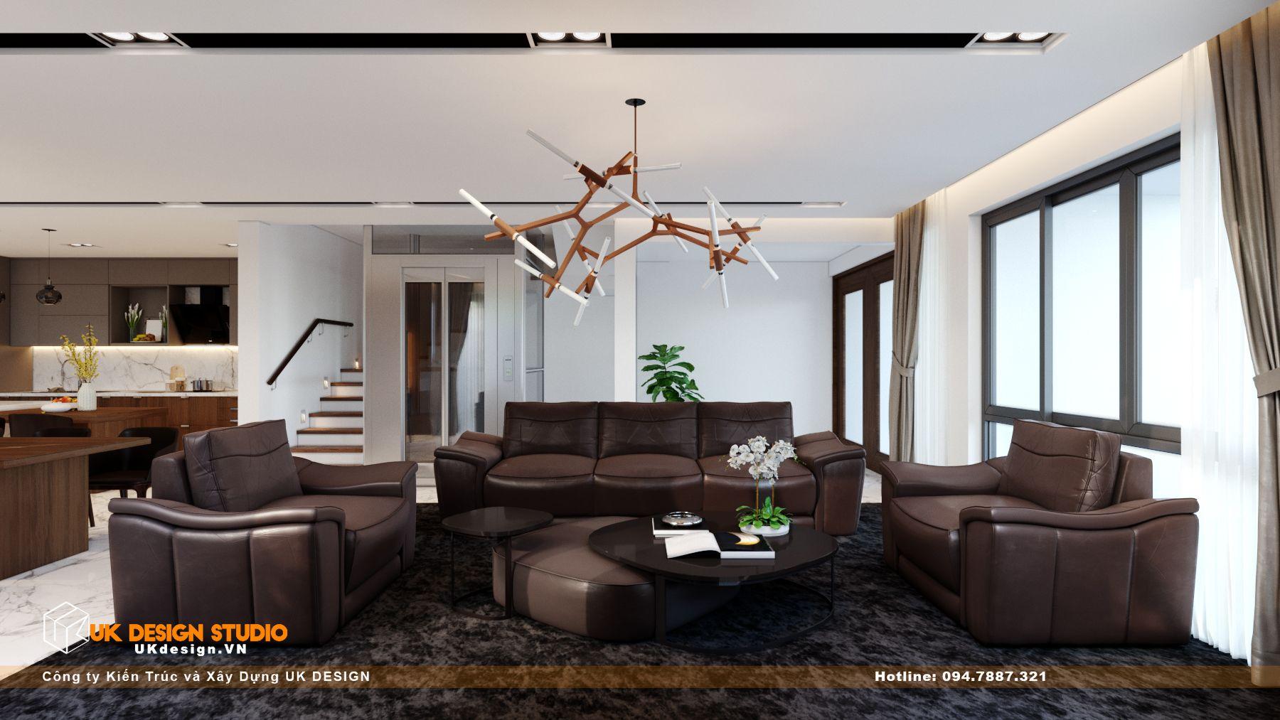 Thiết kế nội thất biệt thự nhà đẹp 3 tầng ở Quận 8 - Phòng Khách Bếp 1