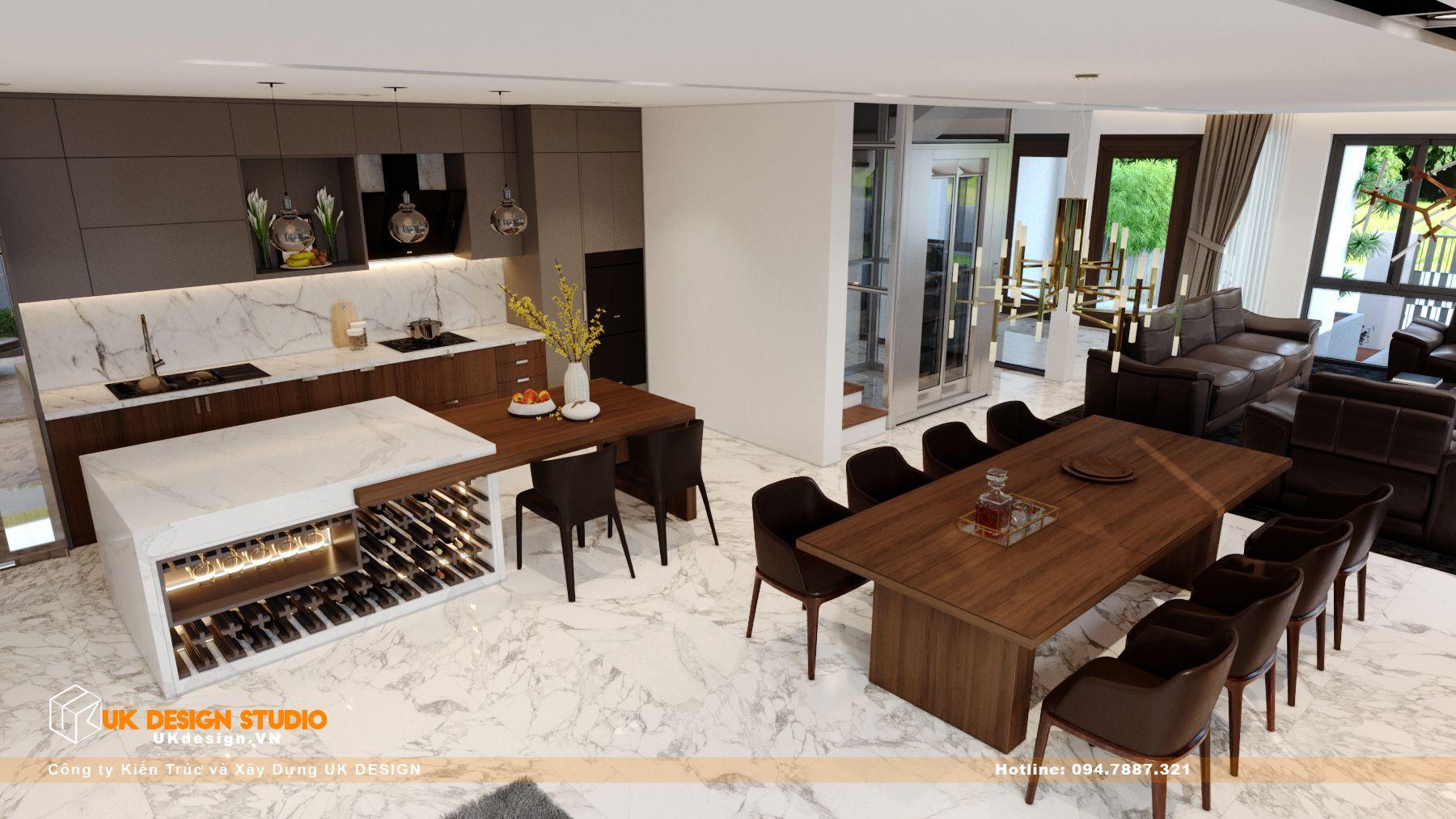 Thiết kế nội thất biệt thự nhà đẹp 3 tầng ở Quận 8 - Phòng Khách Bếp 13
