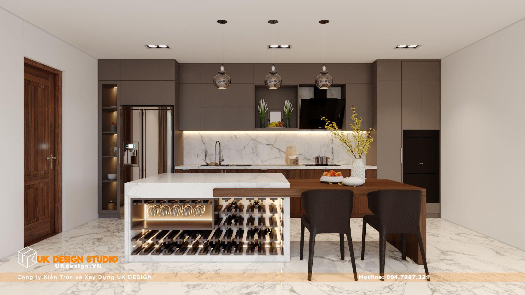 Thiết kế nội thất biệt thự nhà đẹp 3 tầng ở Quận 8 - Phòng Khách Bếp 14