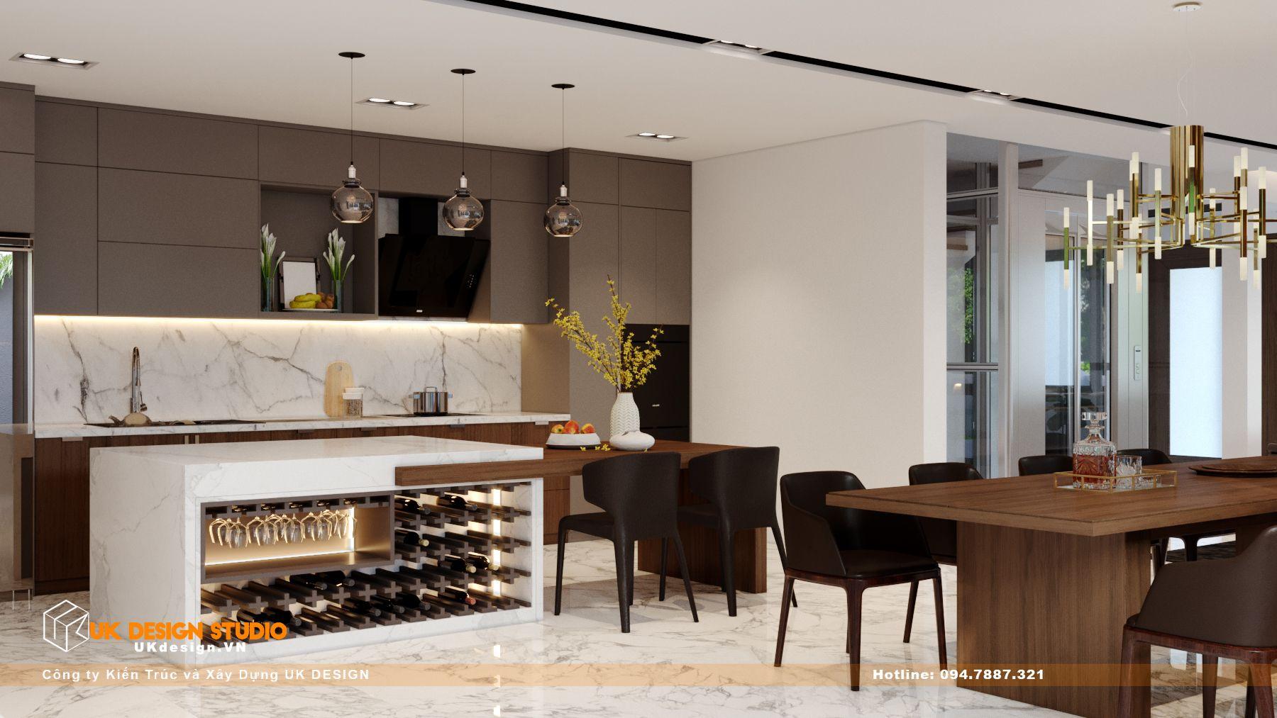 Thiết kế nội thất biệt thự nhà đẹp 3 tầng ở Quận 8 - Phòng Khách Bếp 15