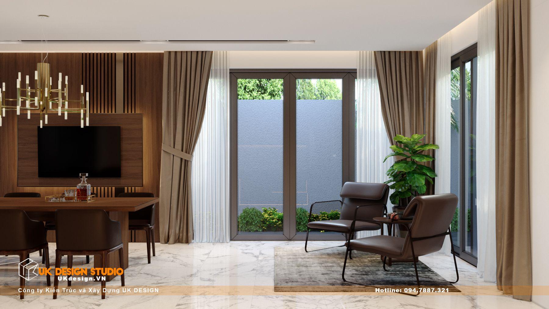 Thiết kế nội thất biệt thự nhà đẹp 3 tầng ở Quận 8 - Phòng Khách Bếp 16