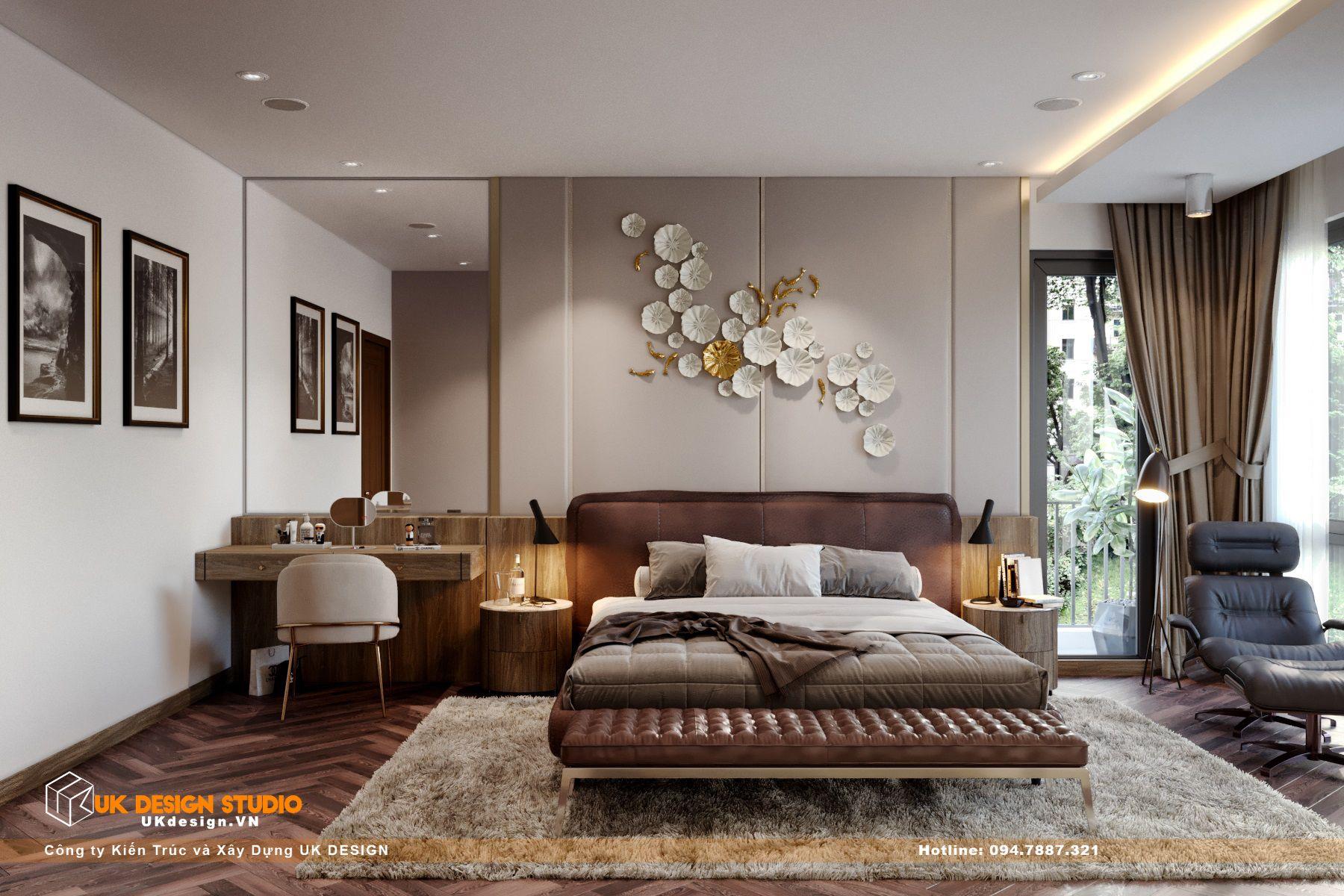 Thiết kế nội thất biệt thự nhà đẹp 3 tầng ở Quận 8 - Phòng ngủ master 1