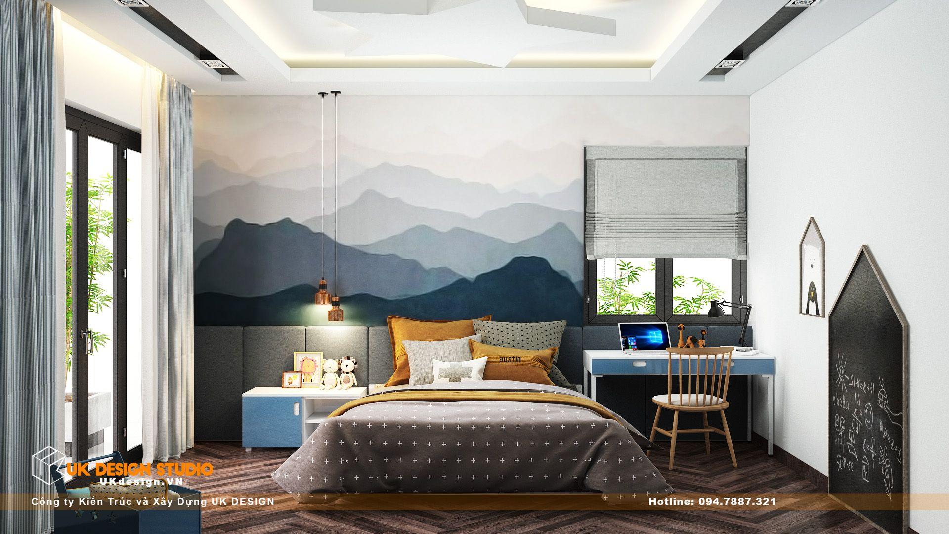 Thiết kế nội thất biệt thự nhà đẹp 3 tầng ở Quận 8 - Phòng ngủ con trai 1