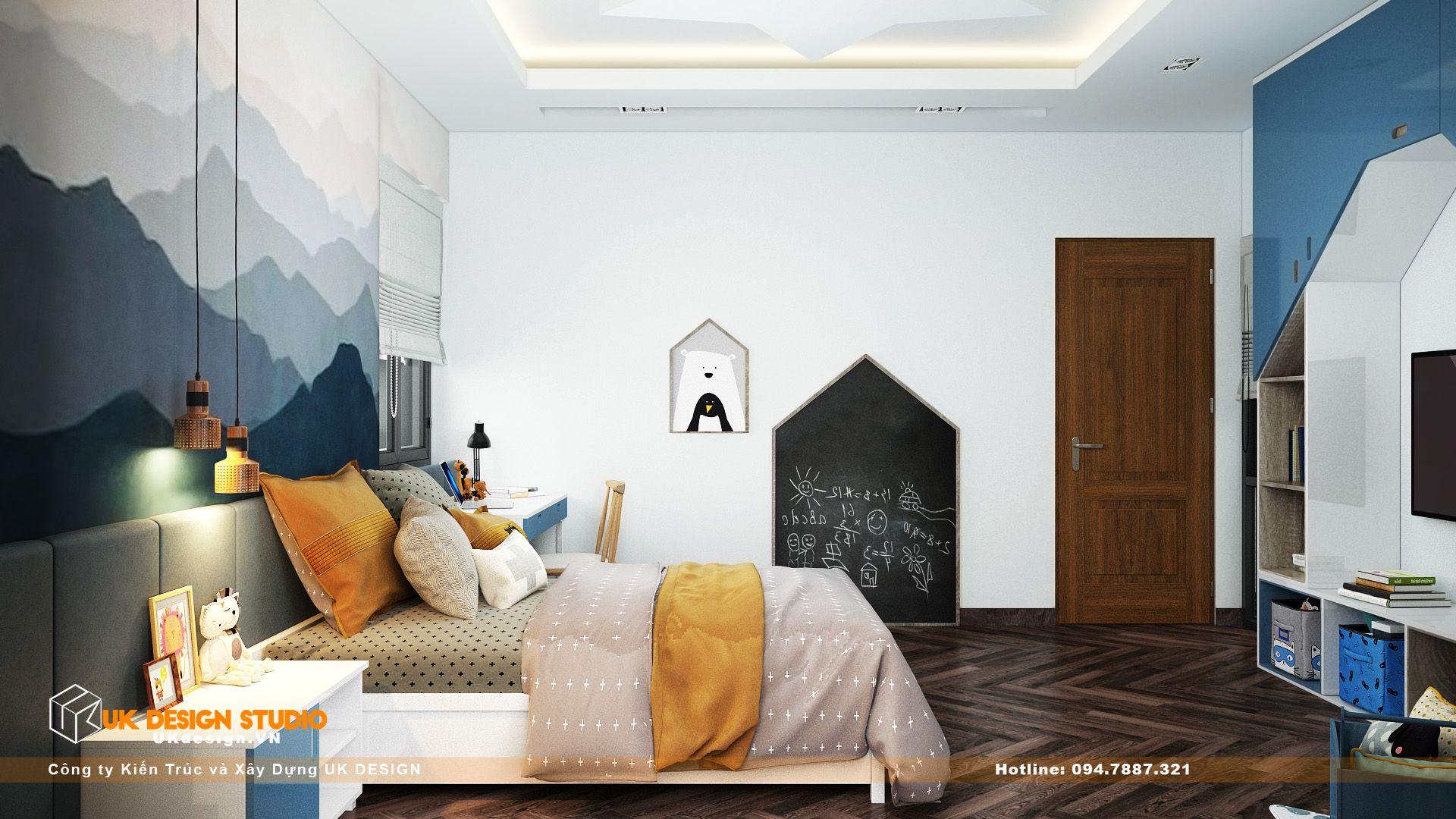 Thiết kế nội thất biệt thự nhà đẹp 3 tầng ở Quận 8 - Phòng ngủ con trai 12