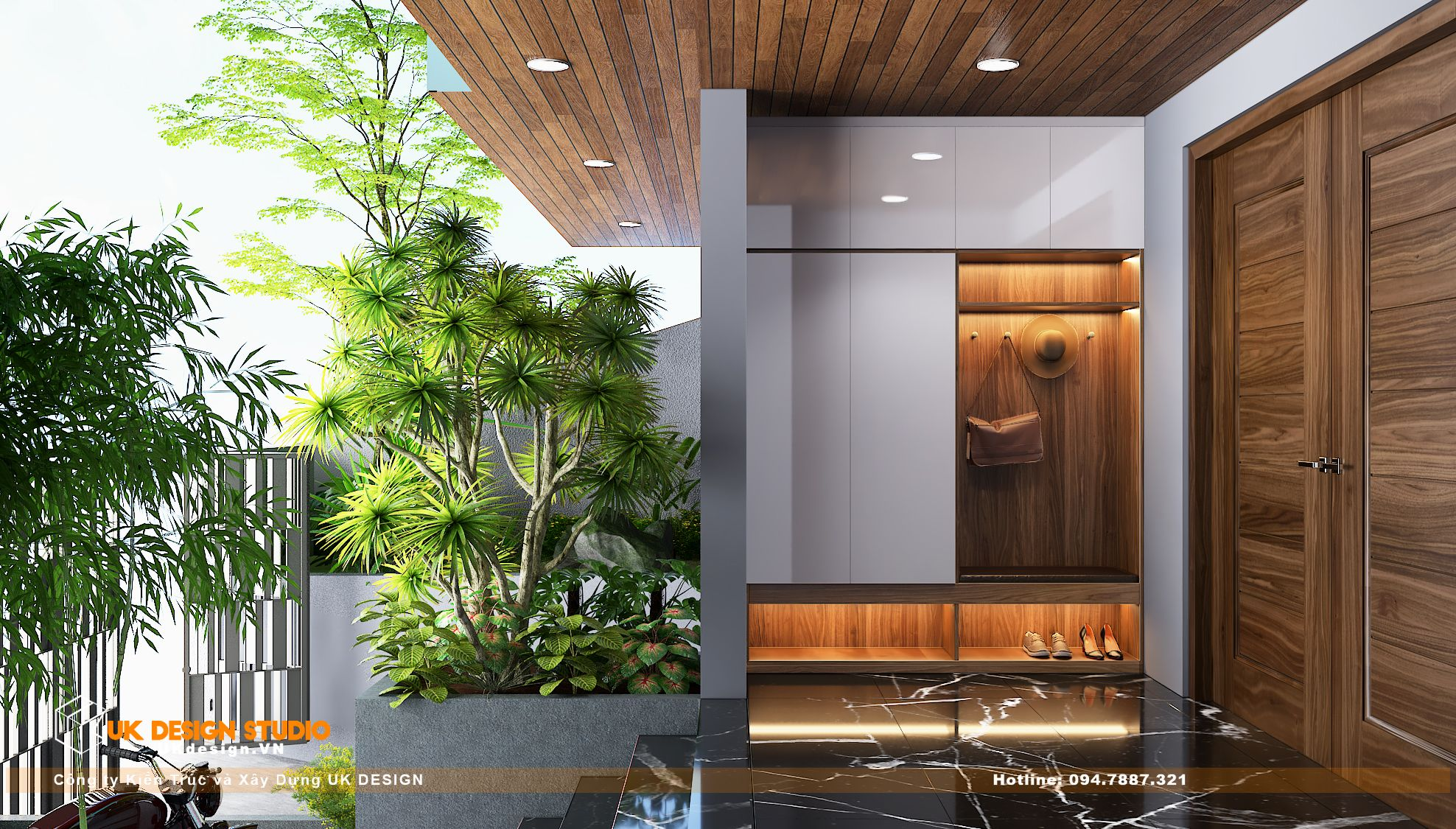 Thiết kế nội thất biệt thự nhà đẹp 3 tầng ở Quận 8 - cửa vào 1